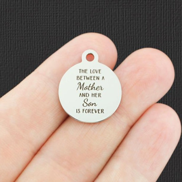 Mom Stainless Steel Charm - The love between a Mother and her Son is forever - Exclusive Line - Quantity Options - BFS4744
