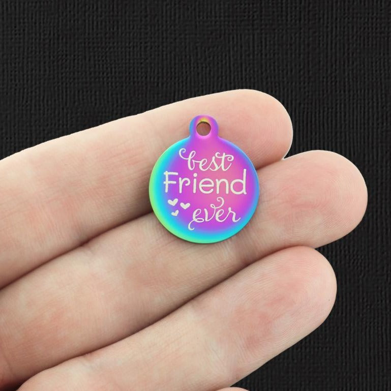 Friendship Rainbow Stainless Steel Charm - Best friend ever - Exclusive Line - Quantity Options - BFS4835RW