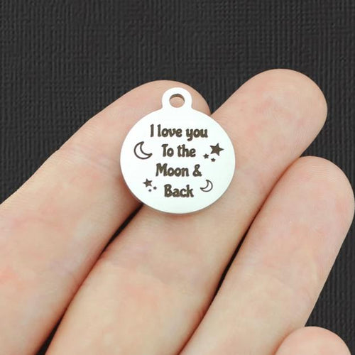 Smaller Size Stainless Steel Charms BFS2624 Love You To The Moon And Back