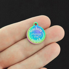 Teacher Rainbow Stainless Steel Charm - Teachers change the world - Exclusive Line - Quantity Options - BFS5266RW