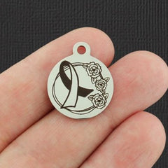 Medical Stainless Steel Charm - Awareness Ribbon - Exclusive Line - Quantity Options - BFS5278
