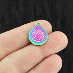 Chakra Rainbow Stainless Steel Charm - Anahata Heart - Small Round - Exclusive Line - Quantity Options - BFS5359RW