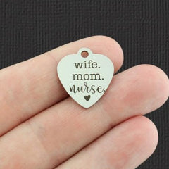Medical Stainless Steel Charm - Wife. Mom. Nurse. - Exclusive Line - Quantity Options - BFS5363