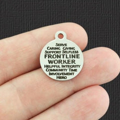 Front Line Worker Stainless Steel Charm - Word Collage Charms - Exclusive Line - Quantity Options - BFS5371