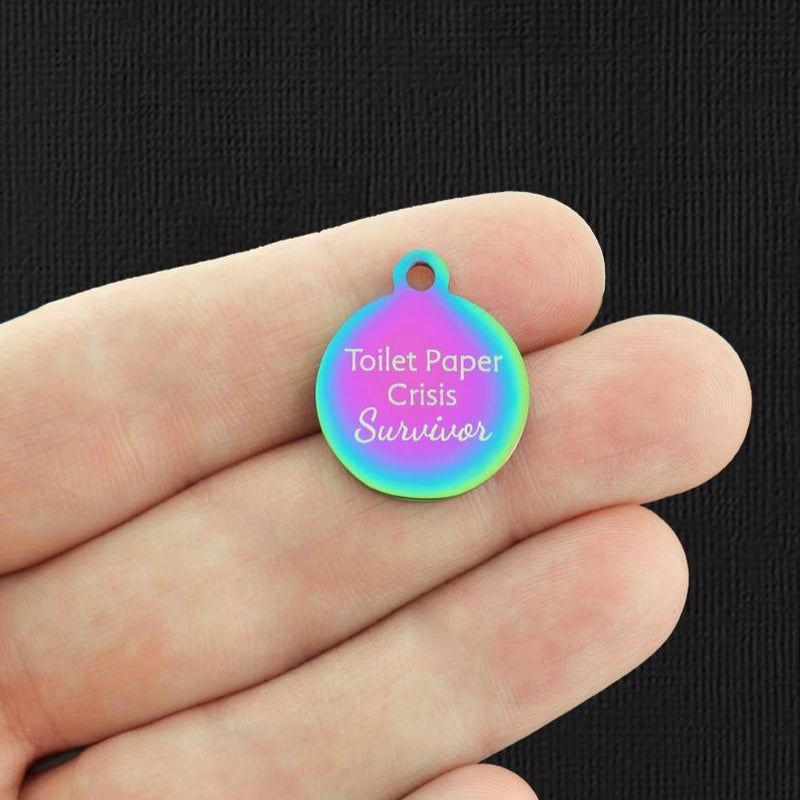 Funny 2020 Rainbow Stainless Steel Charm - Toilet paper crisis survivor - Exclusive Line - Quantity Options - BFS5372RW