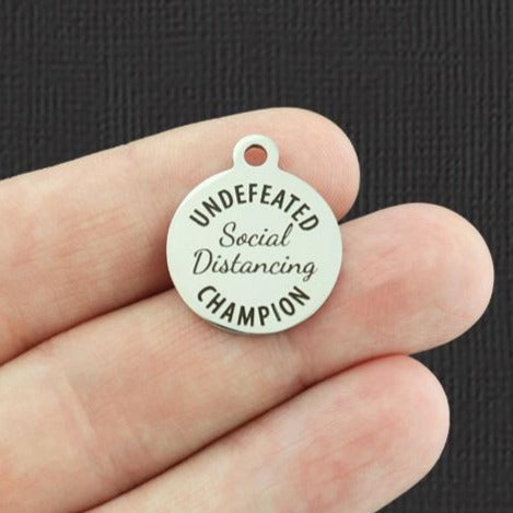 Quarantine Stainless Steel Charm - Social Distancing Undefeated Champion - Exclusive Line - Quantity Options - BFS5373
