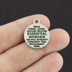 Essential Worker Stainless Steel Charm - Word Collage Charms - Exclusive Line - Quantity Options - BFS5376