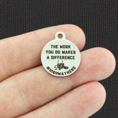 Trucker Stainless Steel Charm - The work you do makes a difference #highwayhero - Exclusive Line - Quantity Options - BFS5377