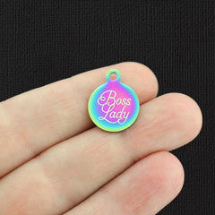 Boss Lady Rainbow Stainless Steel Charm - Small Round - Exclusive Line - Quantity Options - BFS5537RW