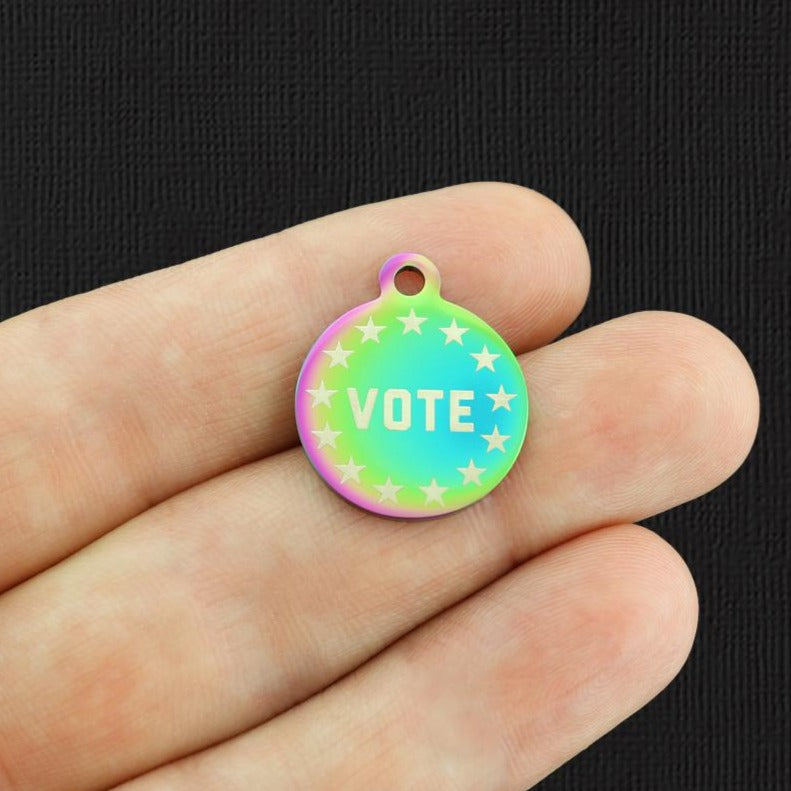 Vote Rainbow Stainless Steel Charm - Exclusive Line - Quantity Options - BFS5622RW