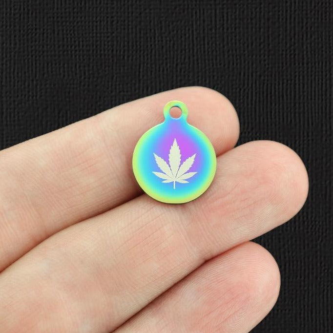 Weed Leaf Rainbow Stainless Steel Charm - Small Round - Exclusive Line - Quantity Options - BFS5666RW