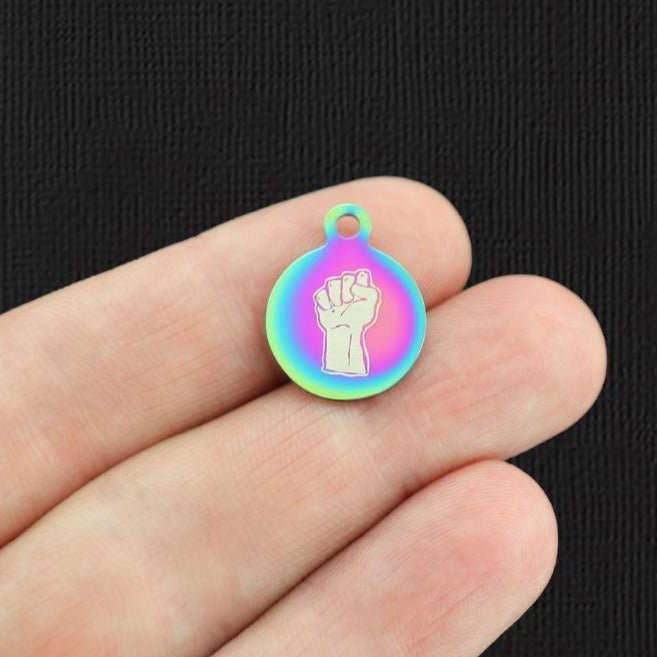 Activist Rainbow Stainless Steel Charm - Raised Fist - Small Round - Exclusive Line - Quantity Options - BFS5669RW