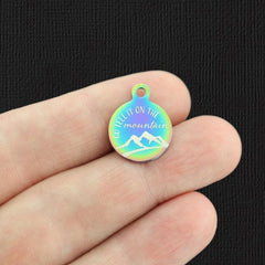 Religious Rainbow Stainless Steel Charm - Go Tell It On The Mountain - Small Round - Exclusive Line - Quantity Options - BFS5670RW
