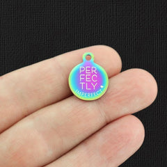 Affirmation Rainbow Stainless Steel Charm - Perfectly Imperfect - Small Round - Exclusive Line - Quantity Options - BFS5673RW