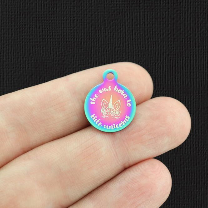 Unicorn Rainbow Stainless Steel Charm - She was born to ride unicorns - Small Round - Exclusive Line - Quantity Options - BFS5720RW