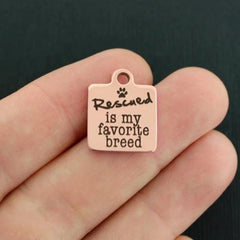 Rescue Rose Gold Stainless Steel Charm - Rescued is my favorite breed - Exclusive Line - Quantity Options - BFS622ROGOLD