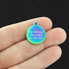 Motivational Rainbow Stainless Steel Charm - She believed she could so she did - Exclusive Line - Quantity Options - BFS654RW
