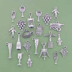 Deluxe Wine Charm Collection Antique Silver Tone 22 Charms - COL262