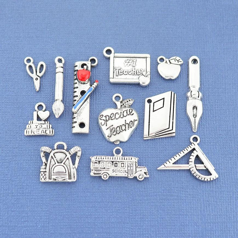Teacher Charm Collection Antique Silver Tone 12 Different Charms - COL338