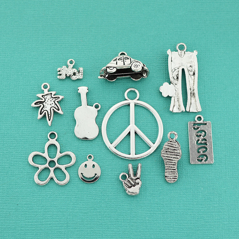 8 Moon charms antique silver tone M76
