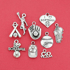 Softball Charm Collection Antique Silver Tone 9 Different Charms - COL068