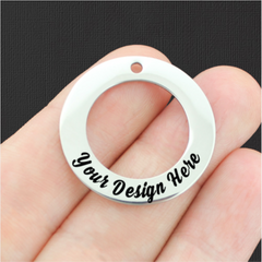 Custom Stainless Steel Affirmation Circle Charm with Hole - Personalized With Your Text or Image - Silver