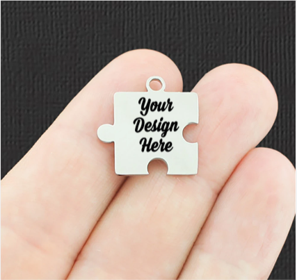 Custom Stainless Steel Puzzle Charm - Personalized With Your Text or Image - Silver