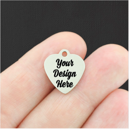 Custom Stainless Steel Smaller Heart Charm - Personalized With Your Text or Image - Silver