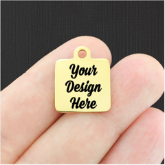Custom Stainless Steel Square Charm - Personalized With Your Text or Image - Gold