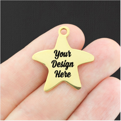 Custom Stainless Steel Starfish Charm - Personalized With Your Text or Image - Gold