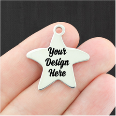 Custom Stainless Steel Starfish Charm - Personalized With Your Text or Image - Silver
