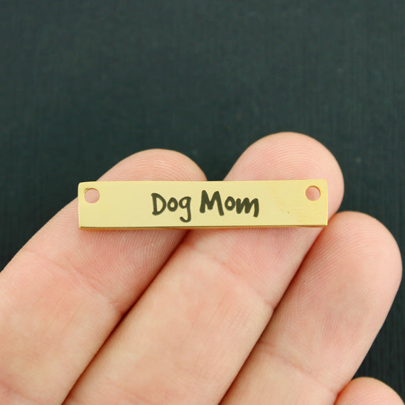 Animal Gold Connector Stainless Steel Charms - Dog Mom - Exclusive Line - Quantity Options - LCON294GOLD