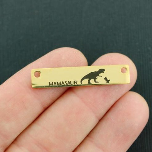 Family Gold Connector Charm Stainless Steel Bar - Mamasaur with 1 baby - Exclusive Line - Quantity Options - LCON431GOLD