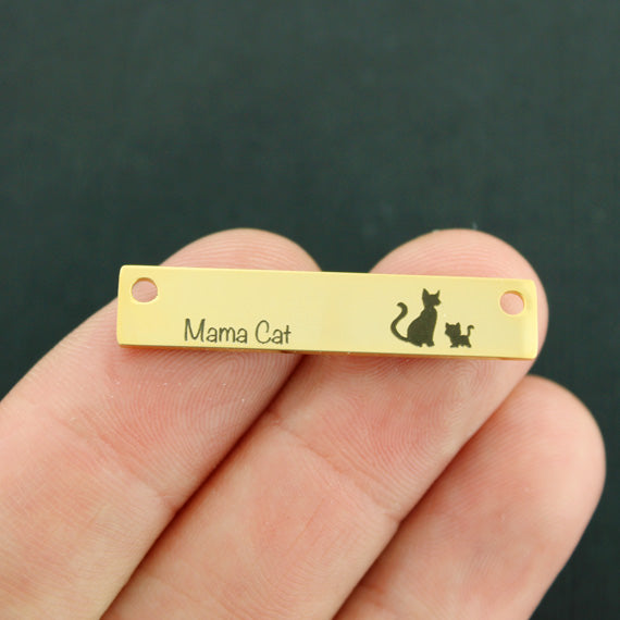 Family Gold Connector Charm Stainless Steel Bar - Mama Cat with 1 baby - Exclusive Line - Quantity Options - LCON498GOLD