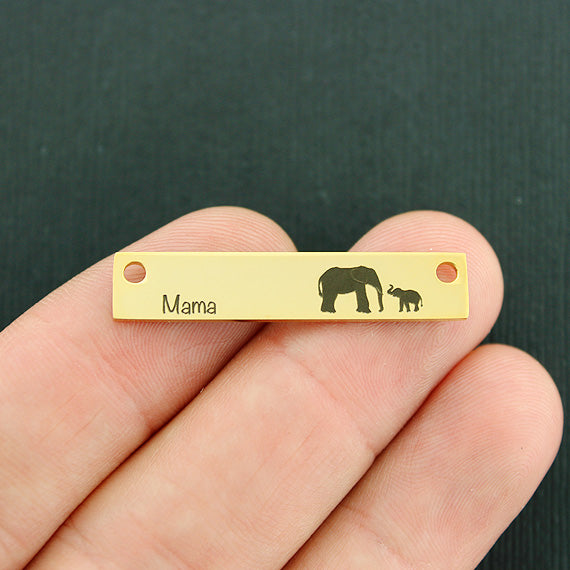Family Gold Connector Charm Stainless Steel Bar - Mama Elephant with 1 baby - Exclusive Line - Quantity Options - LCON499GOLD