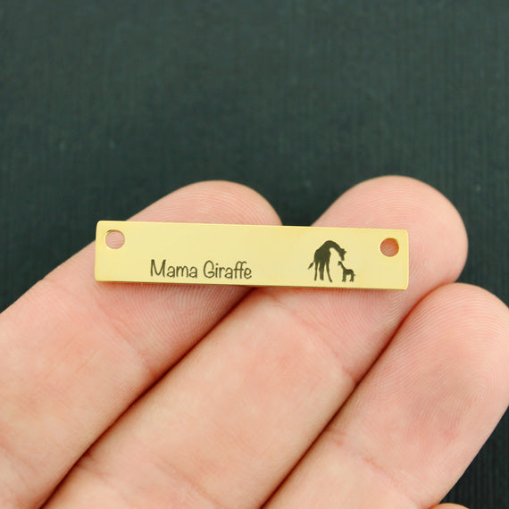 Family Gold Connector Charm Stainless Steel Bar - Mama Giraffe with 1 baby - Exclusive Line - Quantity Options - LCON501GOLD