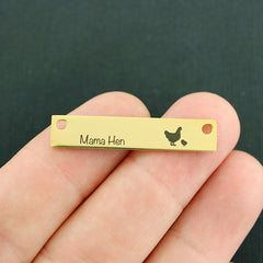 Family Gold Connector Charm Stainless Steel Bar - Mama Hen with 1 baby - Exclusive Line - Quantity Options - LCON503GOLD