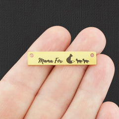 Family Gold Connector Stainless Steel Charms - Mama Fox with 2 Babies - Exclusive Line - Quantity Options - LCON511GOLD