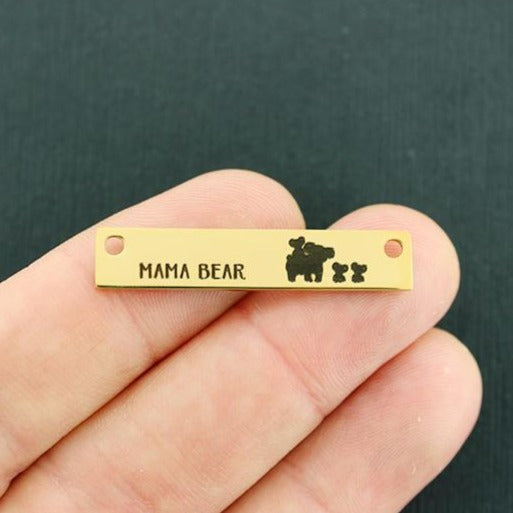 Family Gold Connector Charm Stainless Steel Bar - Mama Bear Koala with 2 babies - Exclusive Line - Quantity Options - LCON526GOLD