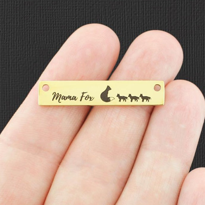 Family Gold Connector Charm Stainless Steel Bar - Mama Fox with 3 babies - Exclusive Line - Quantity Options - LCON715GOLD
