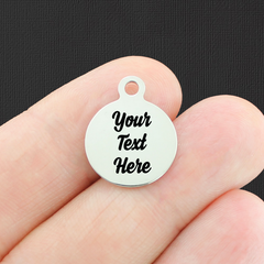 Custom Stainless Steel Smaller Round Charm - Personalized With Your Text - Silver