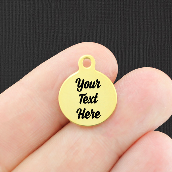 Custom Stainless Steel Smaller Round Charm - Personalized With Your Text - Gold