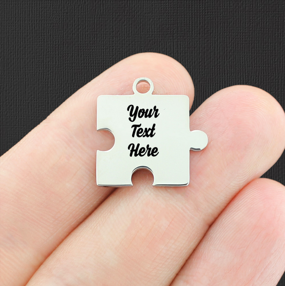 Custom Stainless Steel Puzzle Charm - Personalized With Your Text - Silver