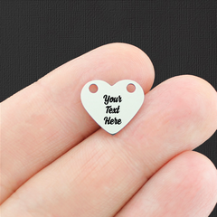 Custom Stainless Steel Heart Connector Charm - Personalized With Your Text - Silver