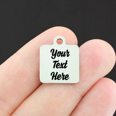 Custom Stainless Steel Square Charm - Personalized With Your Text - Silver