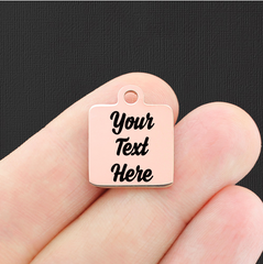 Custom Stainless Steel Square Charm - Personalized With Your Text - Rose Gold