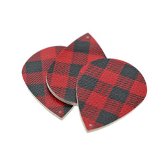 Imitation Leather Teardrop Pendants - Buffalo Plaid - 4 Pieces - LP036