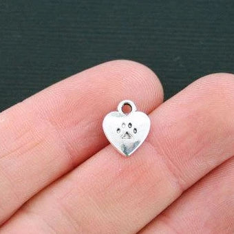 Bulk 50 Dog Paw Heart Charms Antique Silver Tone 2 Sided Dog Charm SC1244