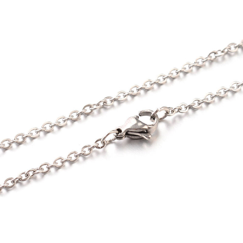 "Stainless Steel Cable Chain Necklace 18"" - 1.5mm - 10 Necklaces - N166"