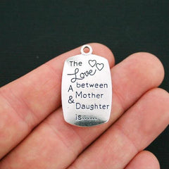 2 Mother Daughter Antique Silver Tone Charms 2 Sided - SC3415